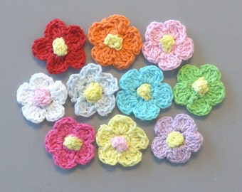 50(pcs) Crochet Flower Appliques 10 Color EA83