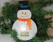 Large hand painted Snowman Ornament