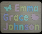 Wood Puzzle for Three Names - Wooden -  Personalized with Mixed Case Letters Only - Select Flush or Raised Letters - Kids Puzzle Toy