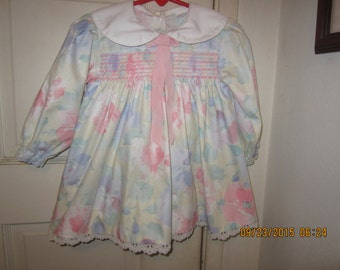 Sale Vintage ALEXIS Floral Smocked Dress 24M