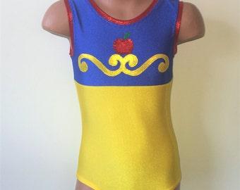 Dancewear. Snow White Inspired Tank Style Leotard. Dance Leotard. Gymnastic Leotard. Performance Costume.  SIZES 2T - Girls 12