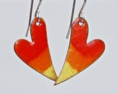 Torch fired enamels red swirly heart earrings with sterling silver, fiery color orange earrings, dangly unique enamel earrings