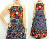 70's Vintage Two Piece Backless Dress Floral Halter Maxi Dress / Wrap Skirt + Halter Top 2 piece Dress Matching Set