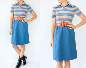 70's MOD Vintage Leslie Fay Fit and Flare Dress / Mini Shirt Dress