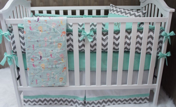 Baby girl nursery bedding crib set mermaid sea fish for Fish crib bedding