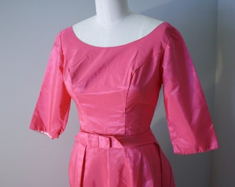 Vintage Evening Gown w Train: Pink Fuchsia Formal Long Dress Sheath XS S 2 4