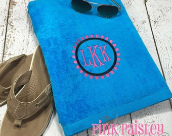 Monogram Beach Towel | Preppy Circle Monogram Towel