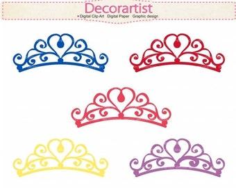 ON SALE Princess clipart, princess Tiara , blue, pink , purple , cute princess theme party, INSTANT Download