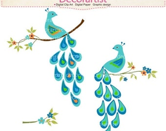 ON SALE Digital clipart for all use, summer peacock 5, flowers branch , peacock clipart , instant download
