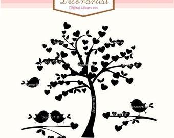 ON SALE Tree silhouette clip art, Heart tree and birds,silhouette heart tree clip art, INSTANT Download