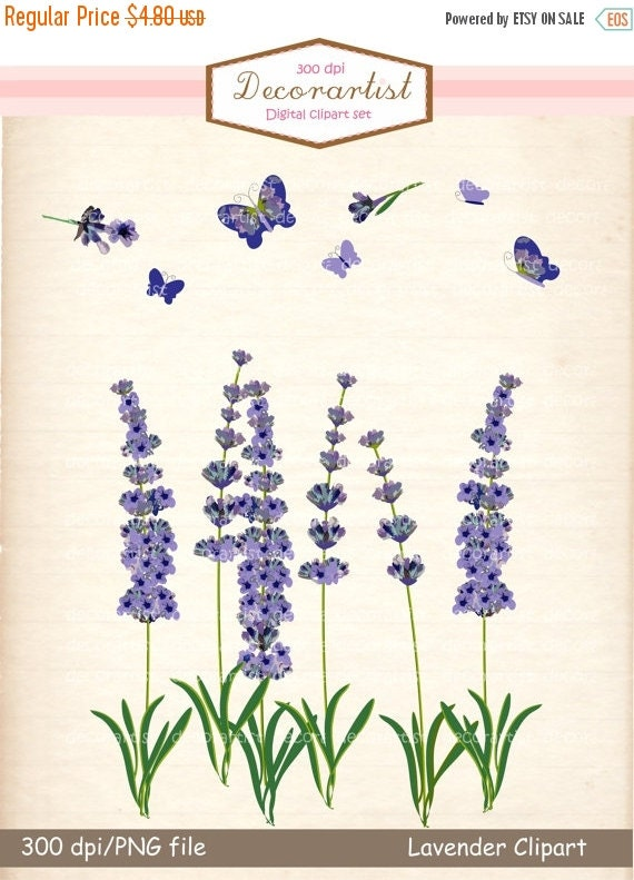 ON SALE Flower clipart...Clipart Flowers And Butterflies Border