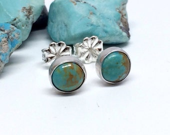 Gemstone Stud Earrings - Turquoise - Sterling Silver