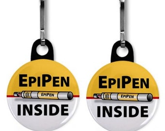 EpiPen Inside Medical Alert Warning 2-Pack of Zipper Pull Charms (Choose Size and Backing Color)
