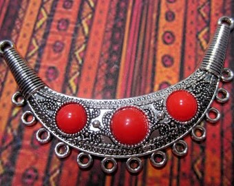Antique silver red necklace enhancer jewely charm  boho chic,tribal,bohemian  jewelry connector crescent moon 95mm x 55mm Bus855