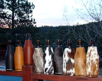 Cowhide Leather Beer Insulator - Bison Leather Beer Holder - Beer Holder - Beer Bottle Coolie - Beverage Holder - Leather Beer Holder