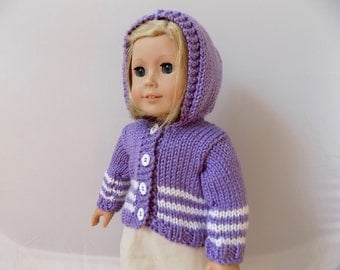 Purple Doll Sweatshirt, Knit Doll Clothes, Girl Doll Clothes