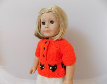 Doll Sweater Halloween, Orange Cat Sweater, 18 Inch Doll Clothes