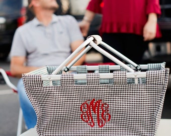 Monogrammed Houndstooth Market Tote; Perfect for Alabama Football Games; Tailgating; Great Gift; Great for Organization