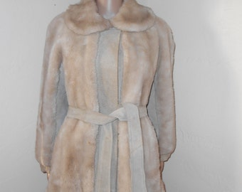 Tan Suede/Faux Fur Lilli Ann Belted Jacket - Size M