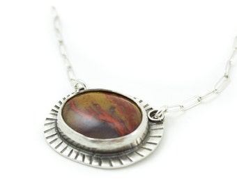 Desert Sands Necklace - Orange and Rust colored gemstone pendant