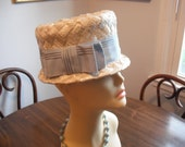 HAT Trimmed with a Large Blue Ribbon Band - Vintage for Summer