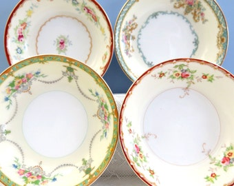 "Set of 4 Mismatched 5"" Dessert Berry BOWLS, Mix & Match for Vintage Wedding or Tea Party, Shabby Pink Floral, FB10"