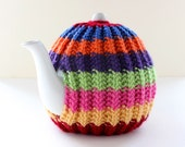 Rainbow Tea Cosy in Pure Wool - Kelso Collection - Traditional Colour Sequence - Medium fits 4-6 cup teapots