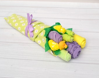 Girl Baby Shower Gift, Baby Gift Basket, Baby Flower Bouquet, Unique Baby Gift, Yellow and Purple Bouquet, Baby Girl Clothes