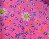 Vintage Fabric - Mod Daisies on Pink Canvas Broadcloth - By the Yard