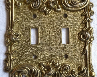 Vintage Metal Switchplate Cover - Ornate Cast Roses - Double Switch Plate