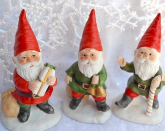 Vintage Christmas Gnome Figurines - 3 Lefton