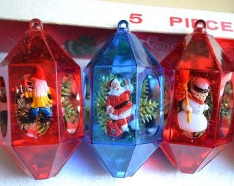 Vintage Jewelbrite Christmas Ornaments - Set of 5