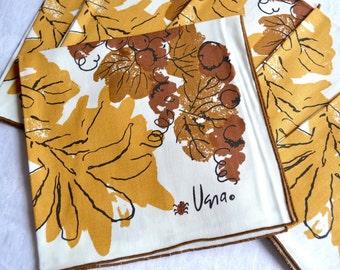 Vintage Vera Napkins - Tan and Brown Grapes and Leaves - NOS Ladybug Set of 6