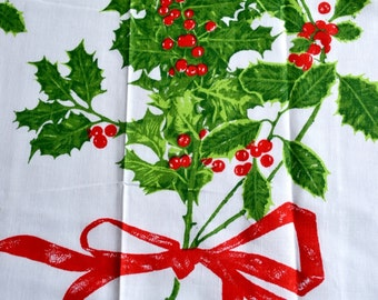 Vintage Vera Tablecloth - Christmas Holly Green - NOS 52 x 70