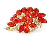 EISENBERG ICE Rhinestone Brooch | Fiery Orange Clear Pave Ribbon Pin | Signed Vintage 1970s Jewelry