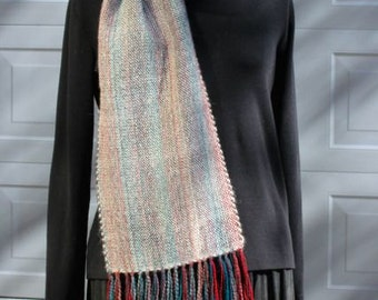 Handwoven wool and alpaca scarf, winter, white, teal, red