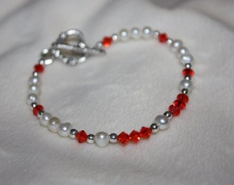 Hyacinth Crystal and Freshwater Pearl Bracelet