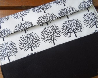 iPad cover with magnetic snap- iPad case - iPad sleeve -  Protection for tablets - Black and white trees