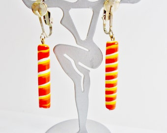 Vintage Barber Barbhers Pole Bead Dangle Glass Earrings Swirls Bright Red Orange Yellow White 60's Pop Art Clip Dangles Art Deco Statement
