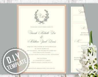 DIY Custom Wedding Invitation Suite -  Classic Laurel Wreath Wedding Invitation Suite - Customized Printable PDF