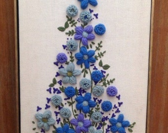 Beautiful Vintage Crewel Embroidery Floral Wall Art