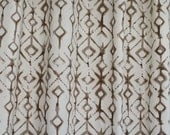 "Tribal print Fabric shower curtain, brown natural  cotton print, 72"", 84"", 90"", 96"", 108"" custom sizes available"