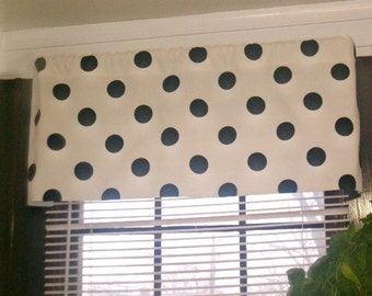 RTS, Lined valance, 42 x 16 inches, Oxygen black and and white polka dot cotton