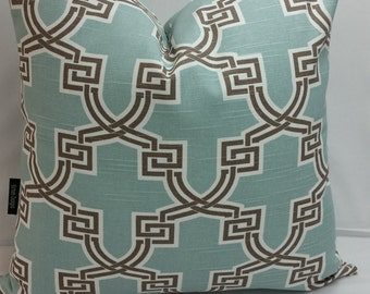 "RTS, Snowy blue, taupe and white trellis cotton pillow 18""square"