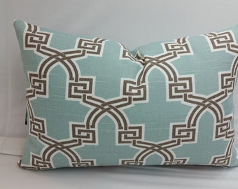 "RTS, Snowy blue, taupe and white trellis cotton pillow 18"" x 12 lumbar"