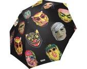 Vintage Masks umbrella - Halloween umbrella - photos of vintage Halloween masks -  Halloween umbrella