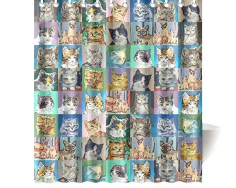 Novelty Paint By Number Cats Shower Curtain - pbn cats - vintage paint by number