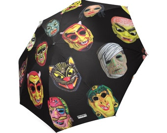 Vintage Masks umbrella - Halloween umbrella - photos of vintage Halloween masks -  Halloween umbrella