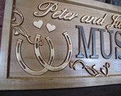 Wedding Gift Personalized Couples Name Signs custom Family Name sign Horseshoes Ranch CARVED Wooden Last name Sign Established Stall horse