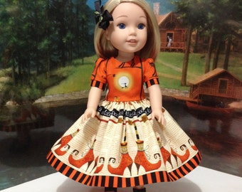 "HALLOWEEN Wellie Wishers ""Trick or Treat"" Halloween dress, slip, shoes,and   hairbow for WW dolls by American Girl or similar 14 inch dolls"